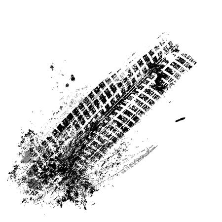 Grunge schwarzer Reifen Spur auf weißem Hintergrund, Vektor-Illustration