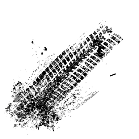 huellas de llantas: pista del neumático negro del grunge en el fondo blanco, ilustración vectorial