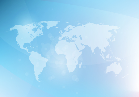 Abstract blue background with world map, vector illustration