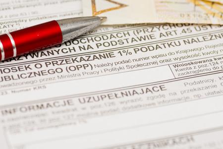 a form: Polish tax form, one percent for public benefit organization