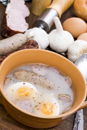 Traditional Zurek with sausage and egg, white borscht, polish Easter soup Zdjęcie Seryjne