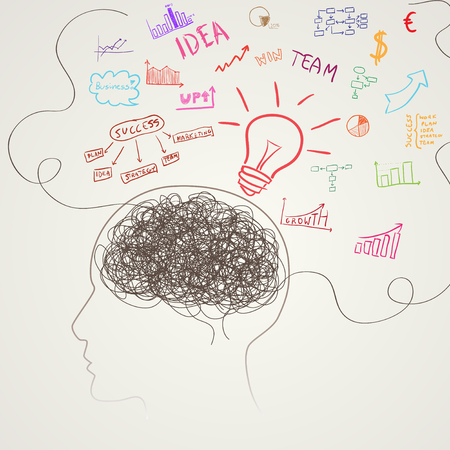 drow: Brain with business icons. illustration