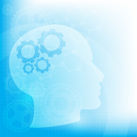 Abstract background with Head and brain gears, illustration