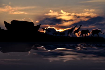 noahs: Noahs ark and animals, cloudy sunset in background
