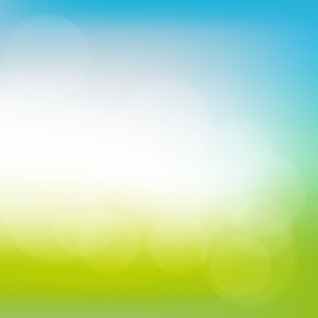 Abstract spring or summer sunny background with blue sky and green meadow, illustration