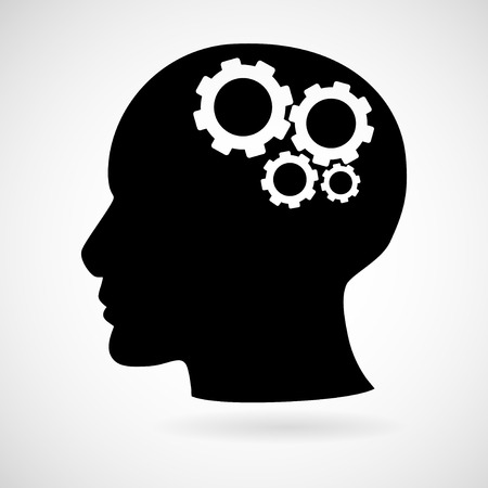 Head with gears icon isolated on white background, illustration. Ilustracja
