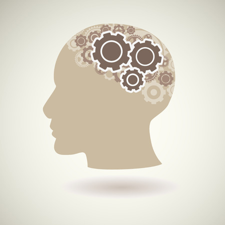 Head with gears icon, illustration.