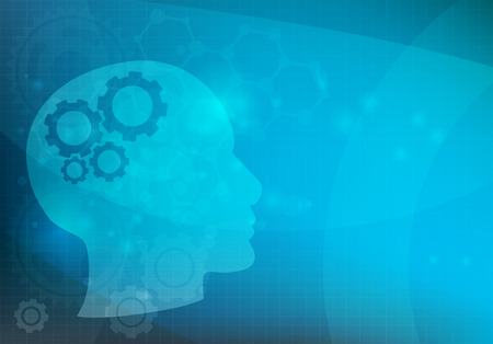 cognitive: Abstract background with Head and brain gears, illustration