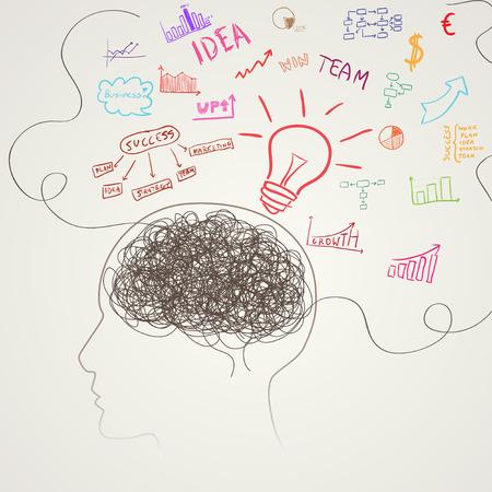 brain illustration: Brain with business icons. illustration