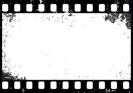 グランジの黒と白のフィルムのフレーム イラスト