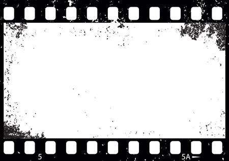Grunge black and white film frame illustration