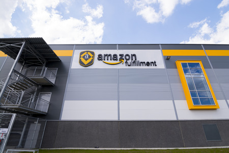 fulfilment: BIELANY, POLAND - MAY 04, 2016: The newly opened warehouse of retailer amazon.com. on 04 may, 2016 in Bielany near Wroclaw, Poland.