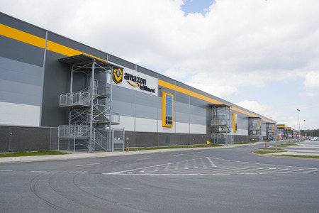 retailer: BIELANY, POLAND - MAY 04, 2016: The newly opened warehouse of retailer amazon.com. on 04 may, 2016 in Bielany near Wroclaw, Poland.