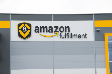 BIELANY, POLAND - MAY 04, 2016: The newly opened warehouse of retailer amazon.com. on 04 may, 2016 in Bielany near Wroclaw, Poland. Zdjęcie Seryjne - 57457214