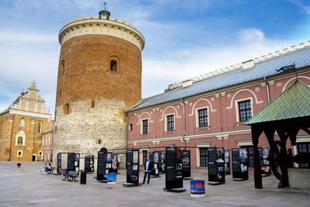 LUBLIN, POLAND - JUNE 02, 2016: Courtyard of medieval royal castle in Lublin with donzon on 02 June 2016 Lublin, Poland