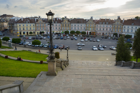 LUBLIN, POLAND - JUNE 02, 2016: Castle Square with historical houses, on June 02 2016  in Lublin, Poland.