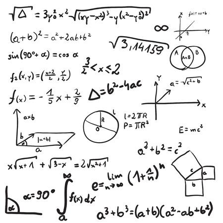 illustratie van wiskundige doodle. Geïsoleerd op witte achtergrond
