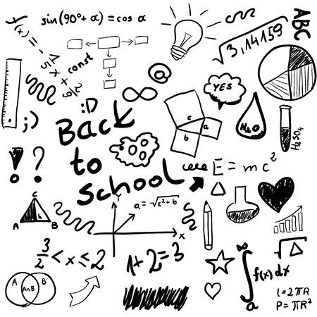 Back to school - set of school doodle illustrations isolated on white Ilustracja