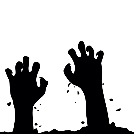 Zombie hand rising out from the ground. Hands on other layer.