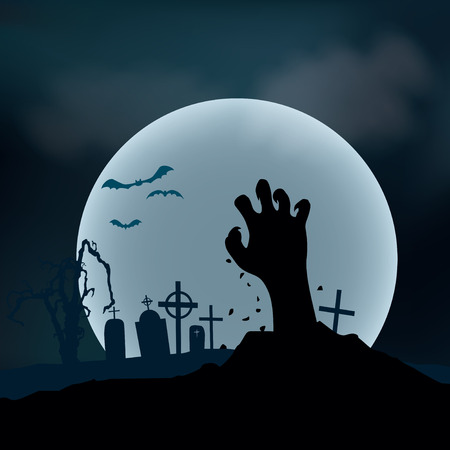Halloween Background. Zombie hand rising out from the ground illustration