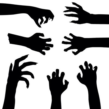 Set of zombie hands isolated on white background,  illustration