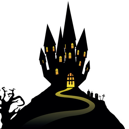 Halloween castle on hill isolated on white background, illustration