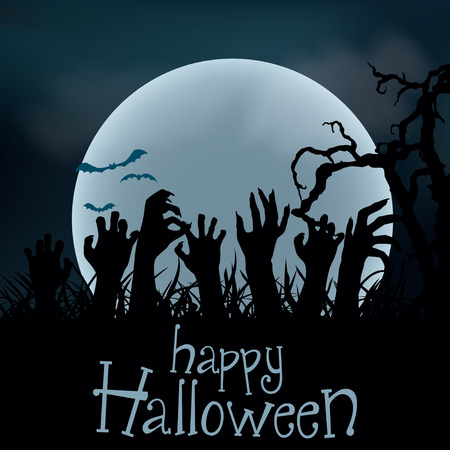 Halloween Background. Zombie hands rising out from the ground, illustration Ilustracja