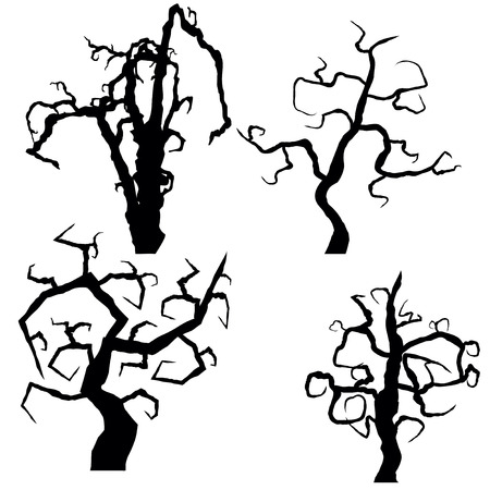 Set of halloween trees isolated on white background, vector illustration Illustration