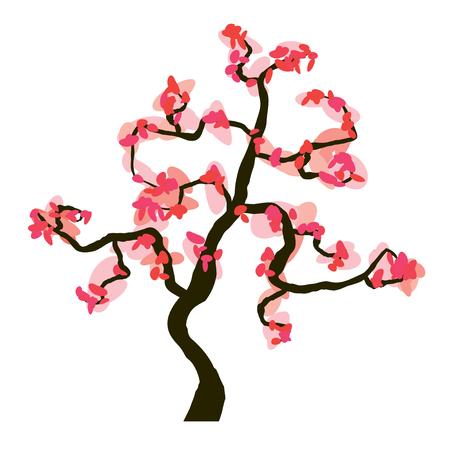 Sakura blossom isolated on white background, vector illustration