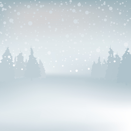 winder: Winder snowy landscape with trees, vector illustration. Background.