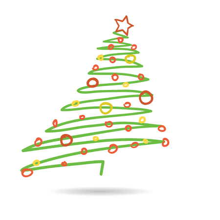 Hand drawn christmas tree isolated on white background, vector illustration