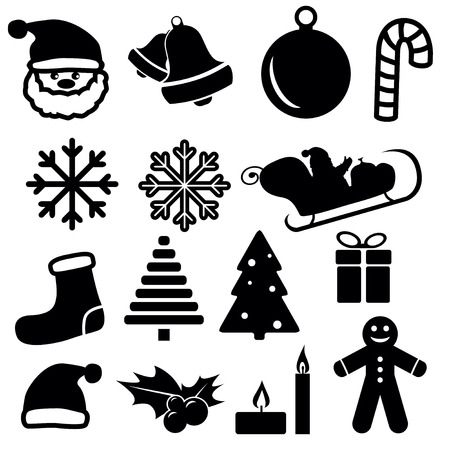 Set of christmas and winter icons isolated on white background. Vector illustration.