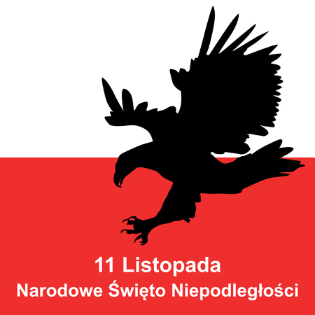 Polish eagle and polish flag in background. Concept of Polish independence day - 11 november. Vector illustration.