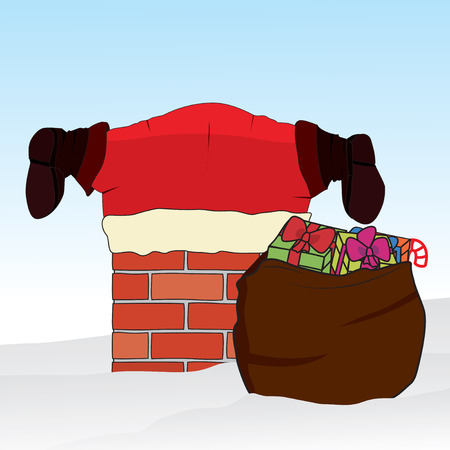 Santa Claus stuck in the chimney. Christmas background. Vector illustration.