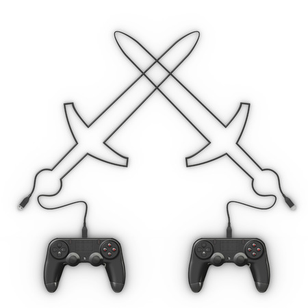 sword fight: Video game controller with cable shaping sword fight