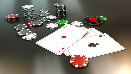 aces: poker hand with 4 aces Stock Photo