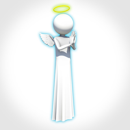 prying: Angel on white background