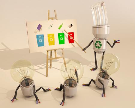 bombillo ahorrador: Aprender sobre el reciclaje