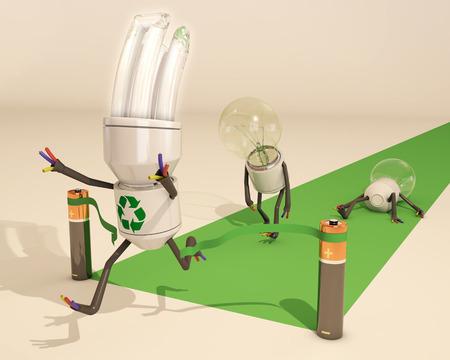 saver bulb: bombilla de ahorro de energ�a de la luz gana la carrera