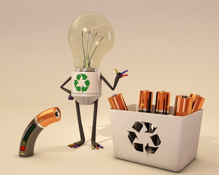 waste 3d: battery recycling Stock Photo