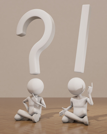 interrogative: interrogation, exclamation, 3d character Stock Photo
