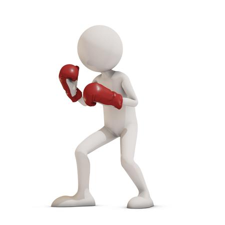 sport man: boxer 3d man, 3D rendering Stock Photo