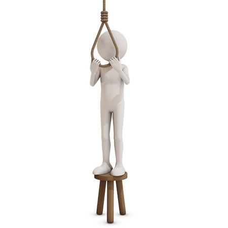 suicidal: man trying to hang himself, 3D rendering