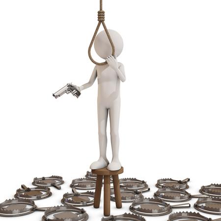 punish: man trying to hang himself, 3D rendering