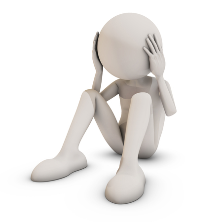 exhausted: Stressed 3d man sitting on white background, 3D rendering