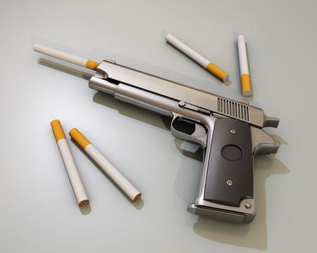 smoking kills: smoking kills, gun and cigarette, 3d rendering Stock Photo
