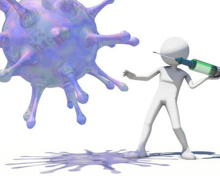 antibodies: 3d man hunting virus vith a syringe, 3D rendering
