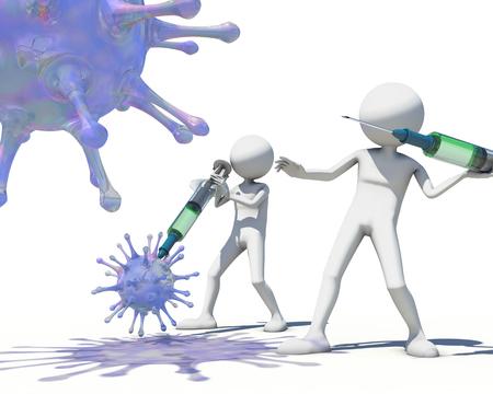 antibodies: 3d men hunting virus vith a syringe, 3D rendering