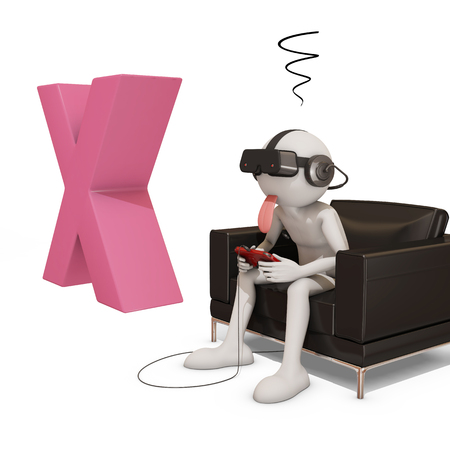x games: 3d man with virtual reality headset watching a pink X, 3d rendering.