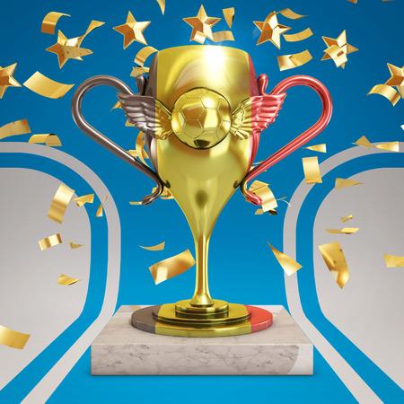 league: Belgium soccer trophy, 3d rendering